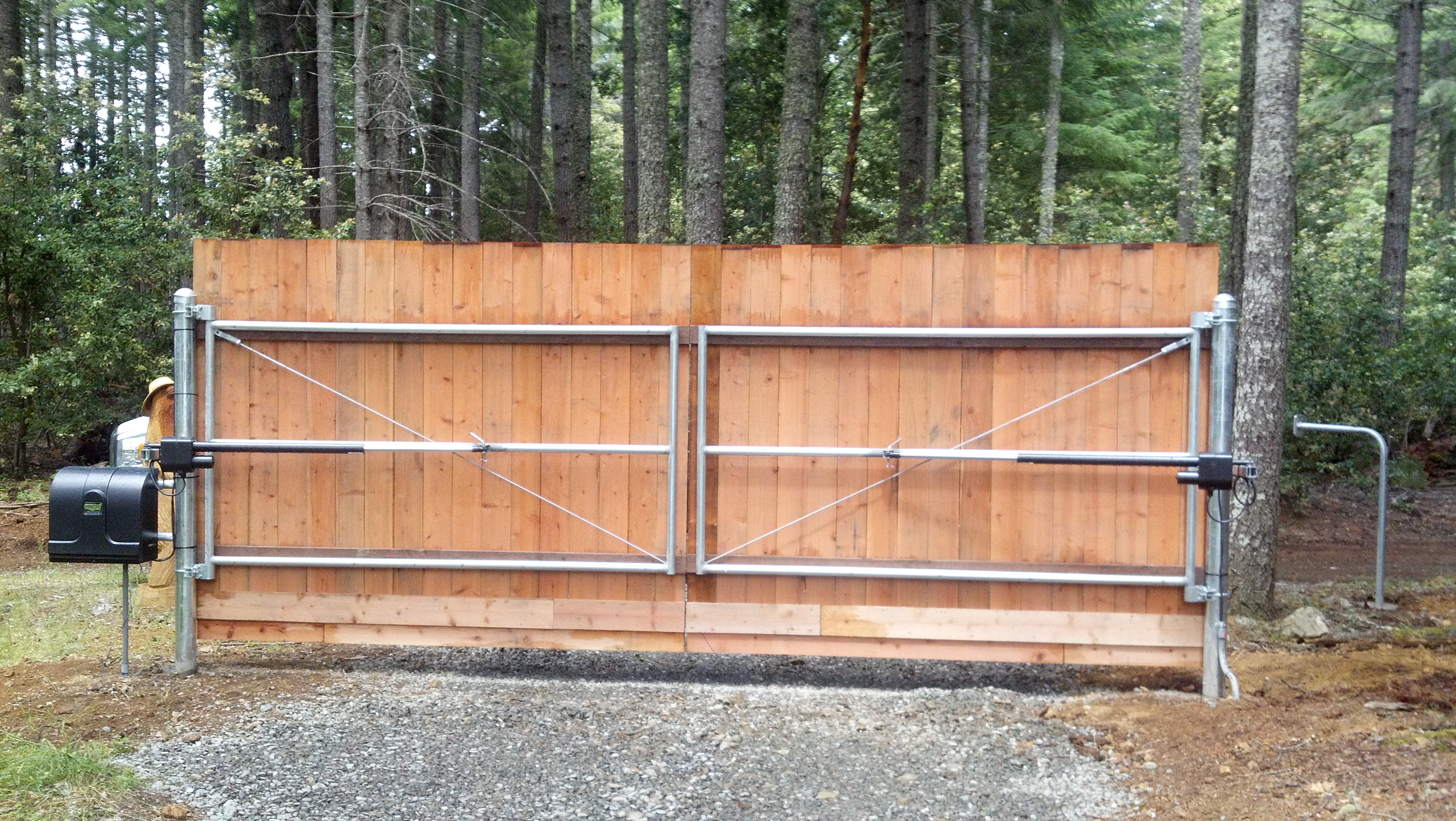 Wood On Steel Double Drive Gate Humboldt Fence Co
